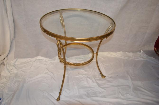 Vintage Brass Swans Gueridon LaBarge Mid Century Hollywood Regency Round Table