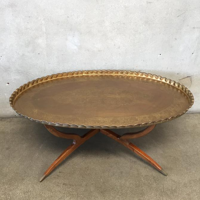 Vintage Copper Tray Table with Spider Legs