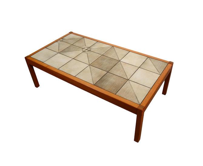Teak Coffee Table with Tile Top Sofa Table Danish Modern Gangso Mobler