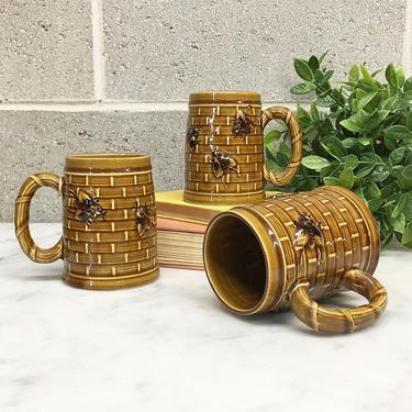 Vintage Mug Set Retro 1970s Handmade Pottery + Honey Bees + Beehive + Pottery + Set of 3 + Coffee Cups + Home and Kitchen Decor by RetrospectVintage215