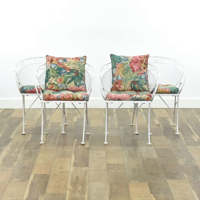 Set Of 4 White Barrel Back Ivy Pattern Patio Chairs