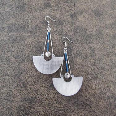 Bold earrings blue hematite and silver, mid century modern earrings, Brutalist earrings, minimalist statement earrings, geometric unique by Afrocasian
