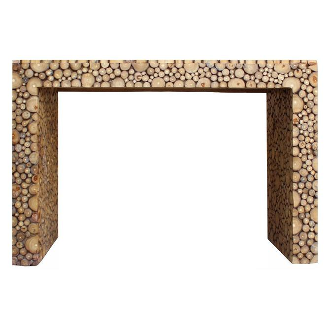 Chinese Distressed Tree Stem Cut Pattern Side Table Desk cs2749S