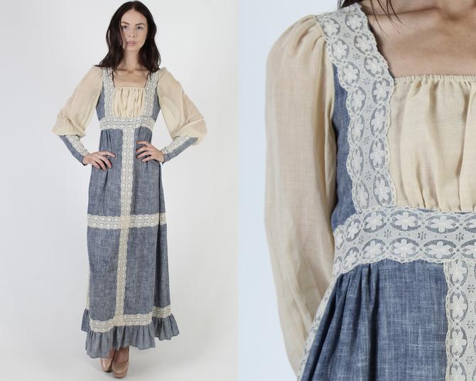 Dirndl Bodice 70s Renaissance Fair Dress / Medieval Times  Renn Faire Dress / Poet Zipper Sleeves / Chambray Floral Maxi Dress by americanarchive