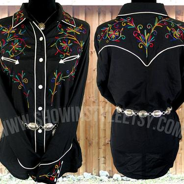 JouJou Vintage Western Women's Cowgirl Shirt, Rodeo Blouse, Black with Multi-Color Embroidery, Tag Size Large (see meas. photo) by ShowinStyle