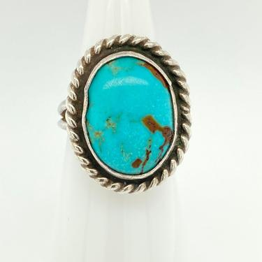 Vintage Navajo Bright Blue Turquoise Sterling Silver Ring Braid Detail Sz 5 by HouseofVintageOnline