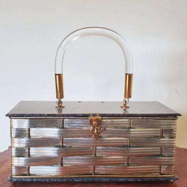 Metal lucite woven basket purse, 1950s purse, rockabilly box purse, silver vintage handbag, by ErstwhileStyle