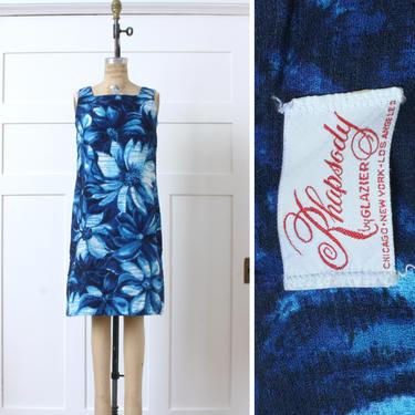 vintage 1960s Hawaiian dress • blue tropical print barkcloth sundress • sixties shift dress by LivingThreadsVintage