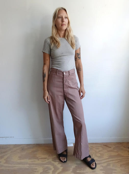 Vintage Over Dyed Brown Sailor Trousers/ High Waisted Button Fly Navy Uniform Pants/ Size 31 by bottleofbread