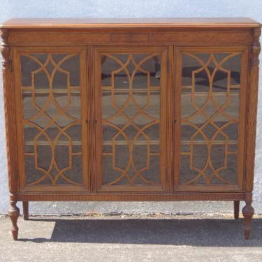 Antique Cabinet Curio Hutch Wood Fretwork Traditional Victorian Display Case Vintage Furniture Storage Bookcase Glass CUSTOM PAINT AVAIL by DejaVuDecors