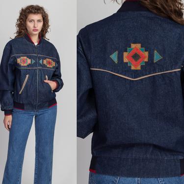 90s Southwestern Denim Jacket - Men's XS, Women's Small to Medium   Vintage Pioneer Wear Leather Trim Jean Jacket by FlyingAppleVintage