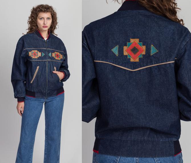 90s Southwestern Denim Jacket - Men's XS, Women's Small to Medium | Vintage Pioneer Wear Leather Trim Jean Jacket by FlyingAppleVintage