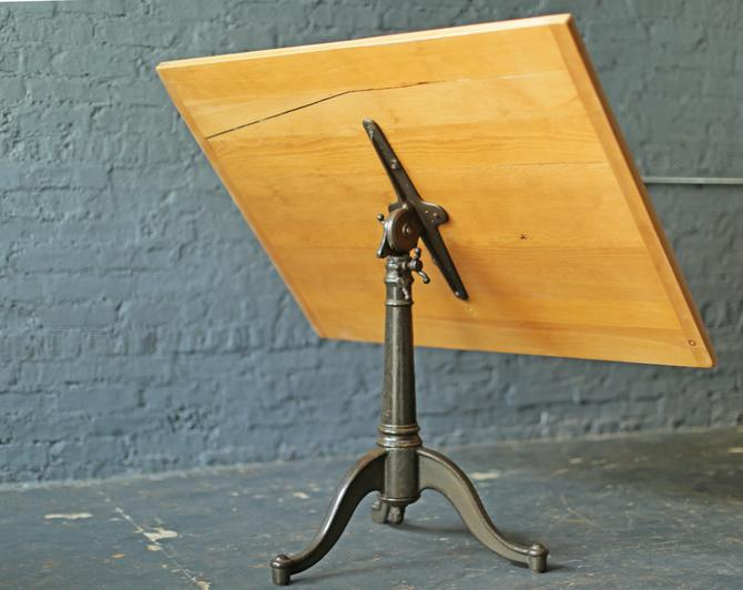 restored vintage drafting table by Dietzgen, cast iron tripod base, vintage antique desk, architect table by jeglova