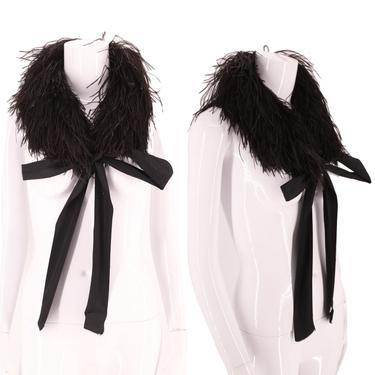 20s black maribou feather scarf  / vintage 1920s flapper deco era collar antique by ritualvintage