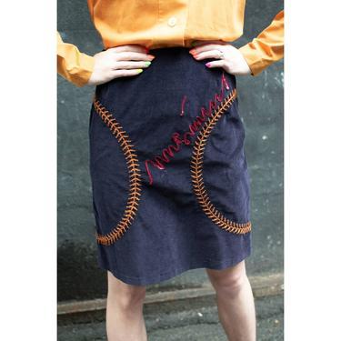 1990's | Moschino Jeans | Corduroy Baseball Skirt by LadyofLizard