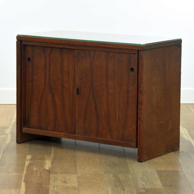 Mid Century Modern Credenza Cabinet W Glass Top