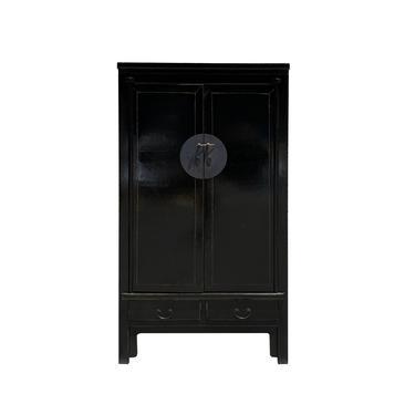 Oriental Distressed Black Moon Face Tall Wedding Armoire TV Cabinet cs6111 by GoldenLotusAntiques