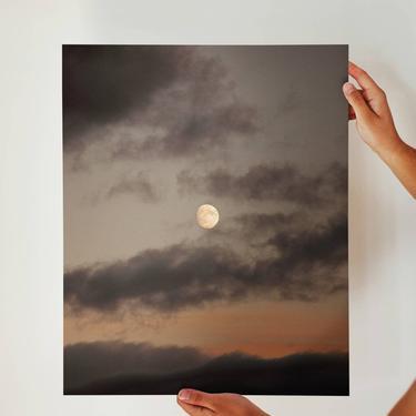 Moonrise, Kenai Peninsula, Moon and Clouds, Alaska, Cooper Landing, Simple Scenic Photograph, Minimalist Photo, Moon Art, Skyline Trail by cedargrey