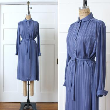vintage 1970s 80s periwinkle blue dress • sheer striped shirtdress with tie belt & puff sleeves by LivingThreadsVintage