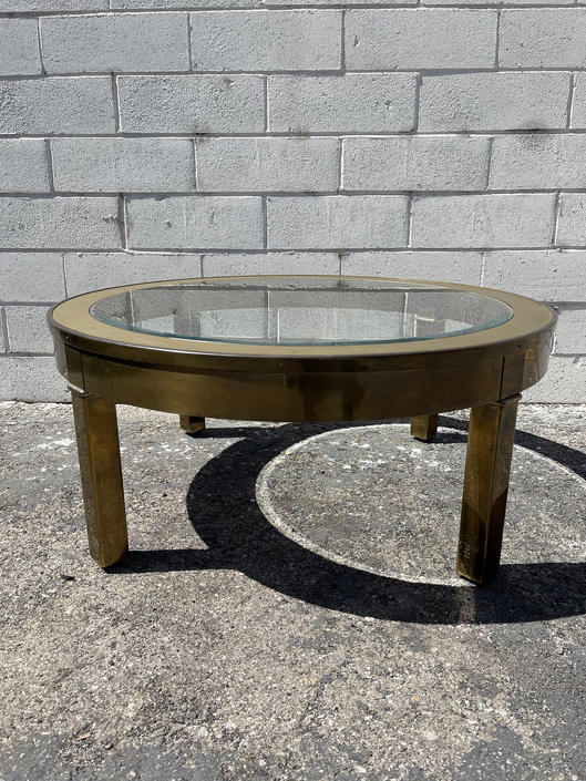 Gold Coffee Table Hollywood Regency Milo Baughman Style Glass Brass Metal Accent Mid Century Modern MCM Side Boho Ring Vintage Living Room by DejaVuDecors