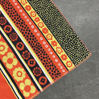 Vintage Beach Towel Retro 1970s Macys + Psychedelic Floral Print + Flower Power + Groovy + Mod + Orange + Navy + White + Yellow + Decor by RetrospectVintage215