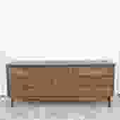 Mid Century Lowboy Dresser with Burlwood & Brass