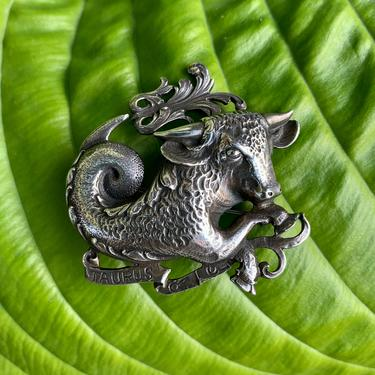 1950's-60's Taurus Bull Brooch - Signed STERLING by CINI - Astrological Zodiac Sign - Handsome Details - Sterling Silver - Locking Clasp by GabrielasVintage