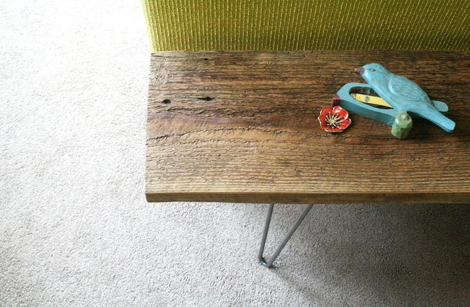 CUSTOM RESERVE for David - a pair of reclaimed wood benches with hairpin legs - reclaimed elemental modern industrial, midcentury modern by birdloft