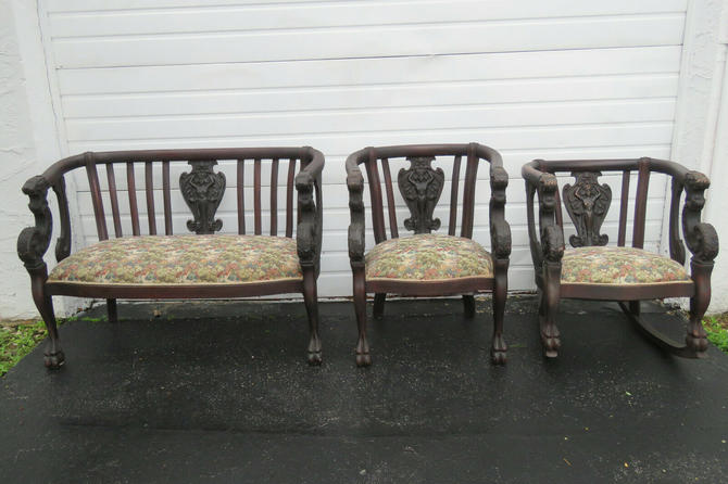 Heavy Carved Lion Head Claw Feet Bench Settee Rocking and Side Chairs 1607