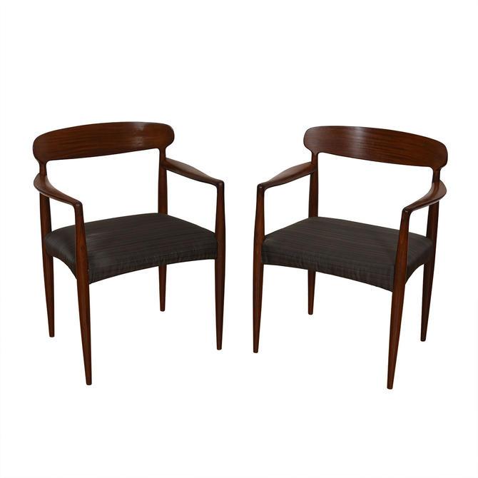 Pair of Danish Modern Dark Teak Upholstered Easy Chairs
