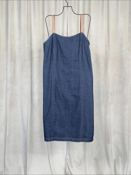 Vintage Ralph Lauren Denim Dress With Brown Leather Straps