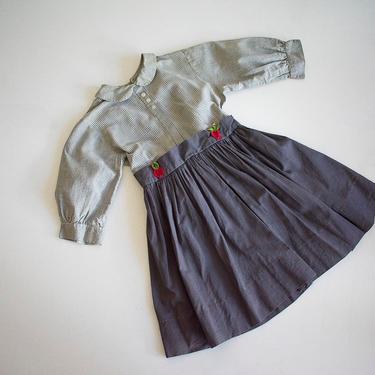 Gingham 1950s Toddler Dress / 4T Plaid Dress / True Vintage Kids Dress / Cotton 1950s Back to School Dress  / True Vintage Toddler Dress by milkandice