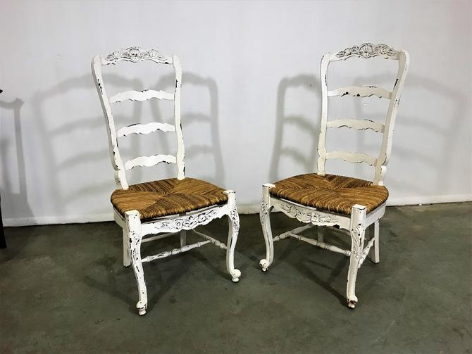 French Country Ladderback Dining Chairs White Carved 4 Rung Rush Seat By Annexmarketplace From Annex Marketplace Of Delaware Attic