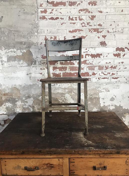 Vintage Toledo Stool Steel School Chair Rustic Industrial Seating by NorthGroveAntiques