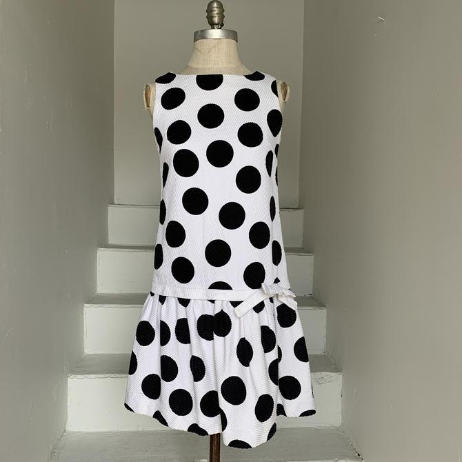 Mod Italian Summer Polka Dot Waffle Cotton Dropped Waist Dress 34 Bust Vintage by AmalgamatedShop