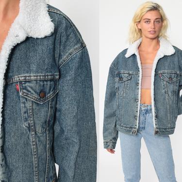 Levis Shearling Jacket -- USA Denim Jacket 80s Levi Sherpa Jacket Jean Jacket Trucker 1980s Oversized Coat Fleece Blue Medium Large by ShopExile