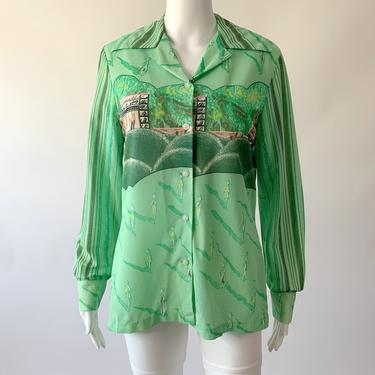 1970's Green Vacation Print Disco Shirt!