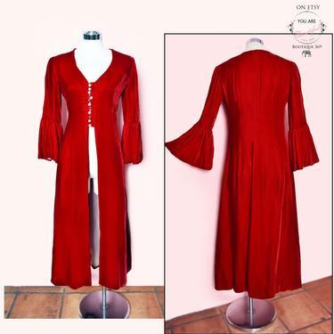 Vintage Red Velvet Long Dress Coat, Vampire style, Victorian Steam Punk Antique 1960's, 1970's, Rich Hippie Boho by Boutique369