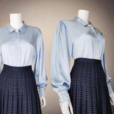 Vintage Bishop Sleeve Blouse, Large / Silky Blue Button Blouse / Liquid Satin Cocktail Blouse / Classic Long Sleeve Loose Dress Blouse by SoughtClothier