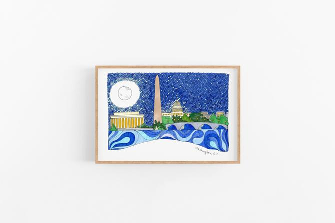 Washington DC View from Potomac Colorful Art Print Ready to frame Home Decor Office Art by VioletredStudio