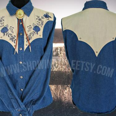Adobe Rose Vintage Retro Western Women's Cowgirl Shirt, Rodeo Blouse, Embroidered Blue Roses and Leaves, Tag Size Medium (see meas. photo) by ShowinStyle