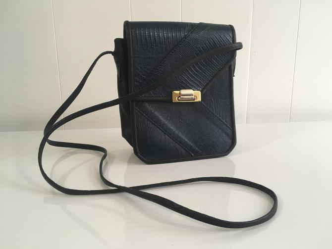 Vintage Navy Blue Leather Crossbody Purse Greg Roche Watsonville California Black Crossbody Bag Handbag Retro Small by CheckEngineVintage