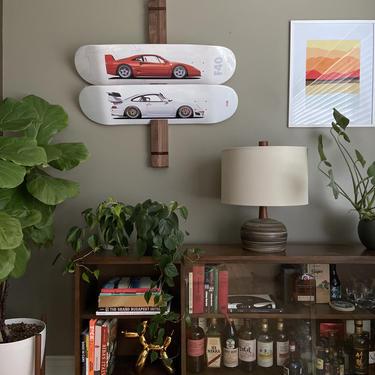 Solid wood skate deck art display by BevelDownDesign
