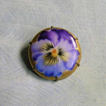 Victorian Hand Painted Pansy Pin, Victorian Porcelain Pansy Brooch Pin, Victorian Flower Jewelry (#3835) by keepsakejewels