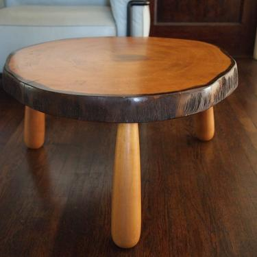 """Vintage Rustic LIVE-EDGE Round Side TABLE, 28"""" Diameter, Tree Trunk Slice Slab Solid Maple Wood Mid-Century Modern eames knoll era by refugegallery"""