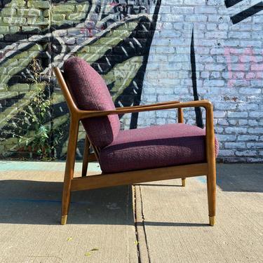 Vintage mid century modern Danish modern lounge chair walnut wood blue/purple cushions folke ohlsson DUX Sweden by symmetrymodern