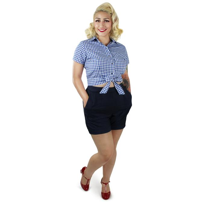 Blue Gingham Knot Top XS-3XL by VintageGaleria