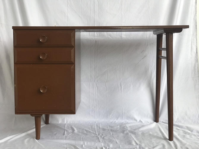 Free Shipping Within US - Vintage Mid Century Modern Desk or Table or Vanity With Three Drawer Storage by BigWhaleConsignment