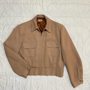 Vintage 1950s Gabardine Jacket 50s Flap Pocket Ricky Jacket by littlestarsvintage