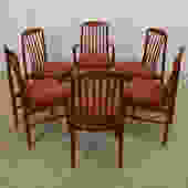 Set of 6 Danish Modern Teak Curved Slatted Dining Chairs